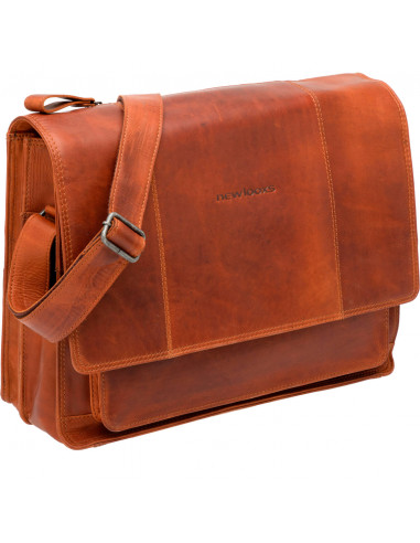 New Looxs laptoptas Fellini leer cognac